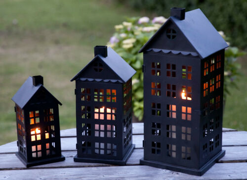 La Hacienda Tall House Steel Candle Lantern Set of 3 garden patio lanterns
