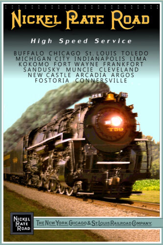 Nickel Plate Road Berkshire Engine 759 Railroad Steam Train Poster Art Print 016