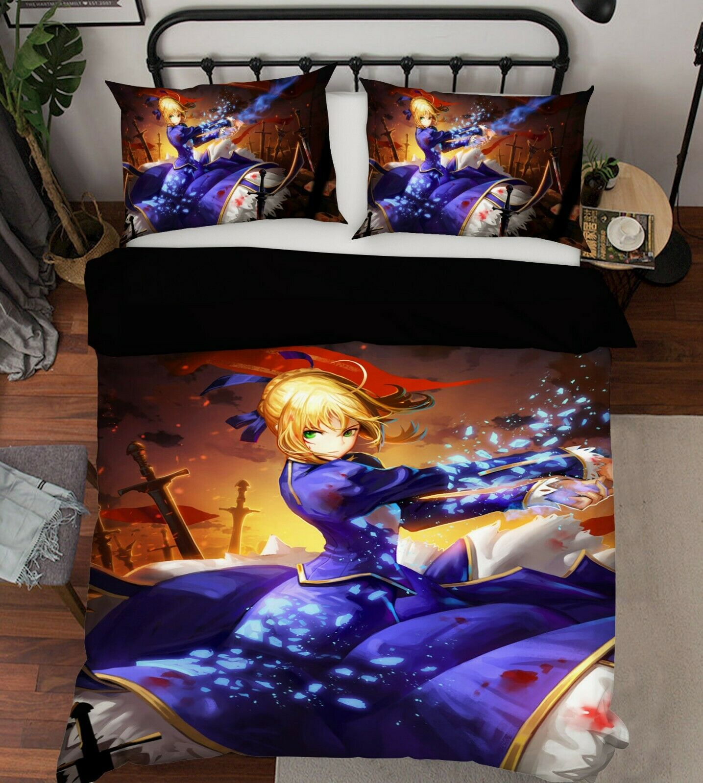 3D Fate Saber O215 Japan Anime Bed Pillowcases Quilt Cover Duvet Amy