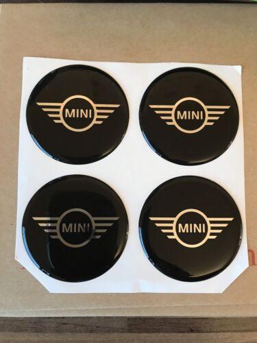 BLACK /& SILVER A Cupola BMW Mini Centro Cap Adesivi//Decalcomanie 50mm Qtà 4