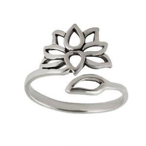 Buddhist Yoga 925 Sterling Silver Lotus Flower Peace Ring