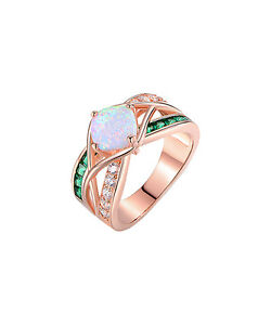 NEW-Peermont-Jewelry-Gorgeous-Fire-Opal-Emerald-18K-Rose-Gold-Plated-Ring-8-180