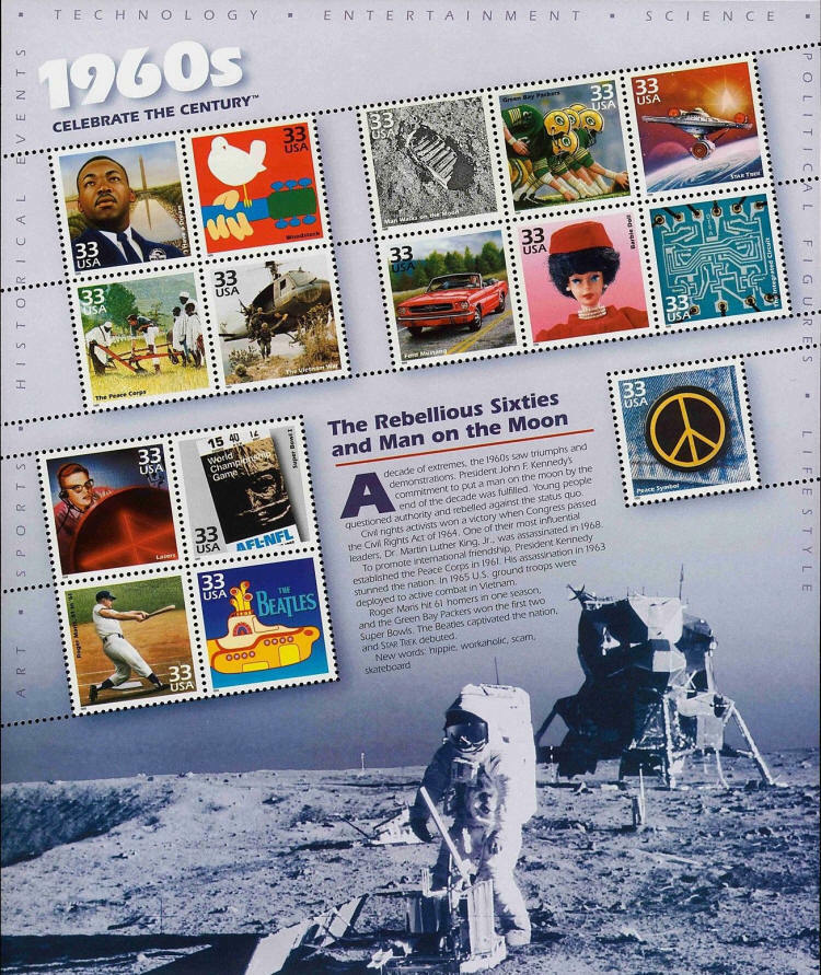 1998 33c 1960's Celebrate the Century, Sheet of 15 Scot