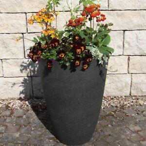 Pflanzkubel Rund O 40 H 55 Cm Gross Kunststoff Anthrazit Taupe Blumentopf Aussen Ebay