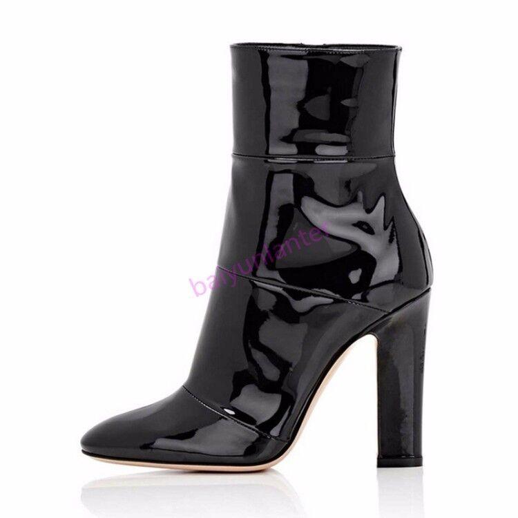 Bloque de de de charol para mujer Tacón Alto botas al Tobillo Zapatos De Moda Puntera Puntiaguda Caliente S 7e2069