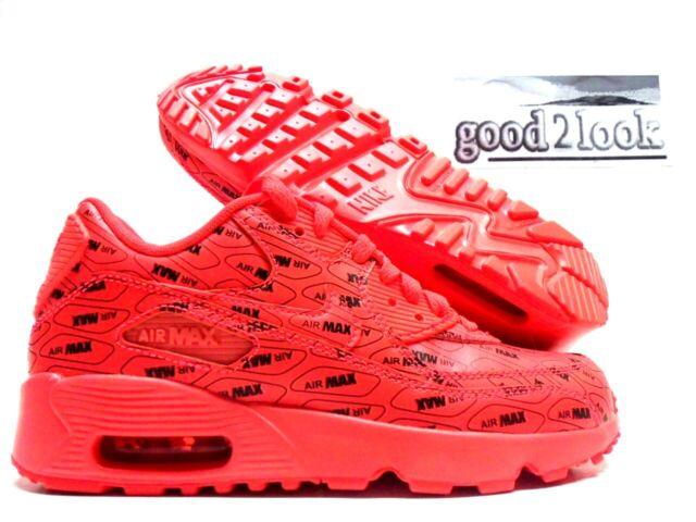 Nike Air Max 90 SE Ltr GS All Print Logo Bright Crimson Youth ...
