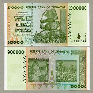 Image Is Loading Zimbabwe 20 Billion Dollars Banknote Aa 2008 P86