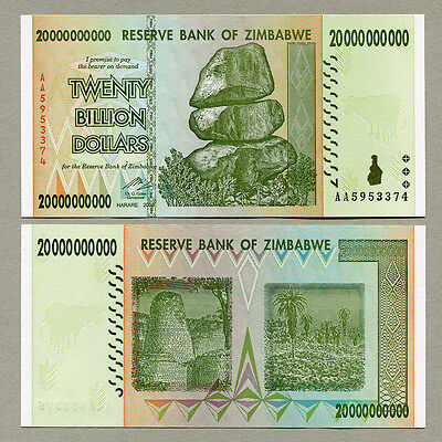 Zimbabwe 20 Billion Dollars x 10 pcs AA 2008 P86 VF currency bills