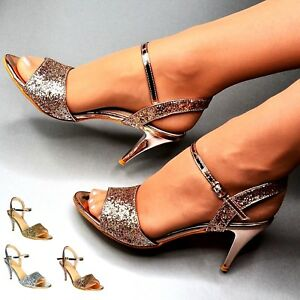 f0feb6de31c Image is loading Women-Evening-Party-Sandals-Ankle-Strap-Glitter-Metallic-