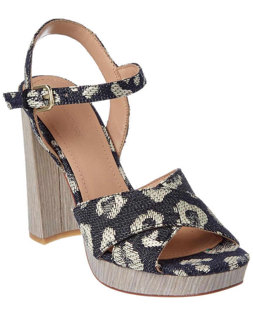 275 Pour La Victoire Yasmin Platform Sandals 6 Denim Leopard Shoes Suede Upper