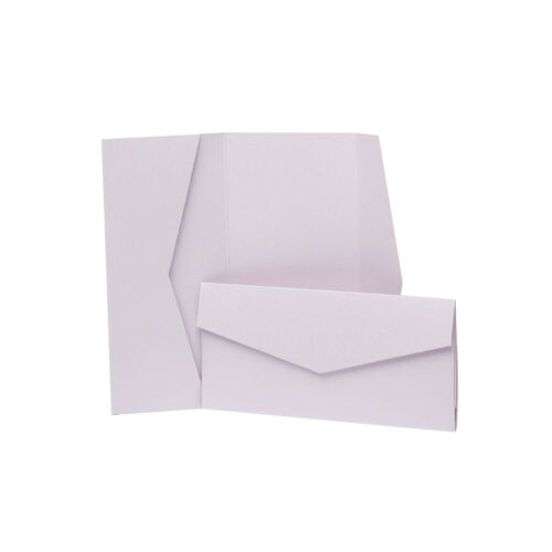 DIY Wedding Invites Lilac Pearlescent Pocketfold Wallets with envelopes