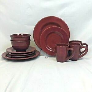 ODD-LOT-11-PIECES-TABLETOPS-UNLIMITED-CORSICA-CHERRY-RED-BOWL-PLATE-MUG-LUNCH