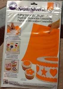 BNIB-Wilton-Edible-Sugar-Sheets-Edible-Cake-Decorating-Paper-Orange