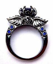 10K BLACK GOLD FILLED SKULL RING blue stone punk gothic dark silver wings 6.5 G5