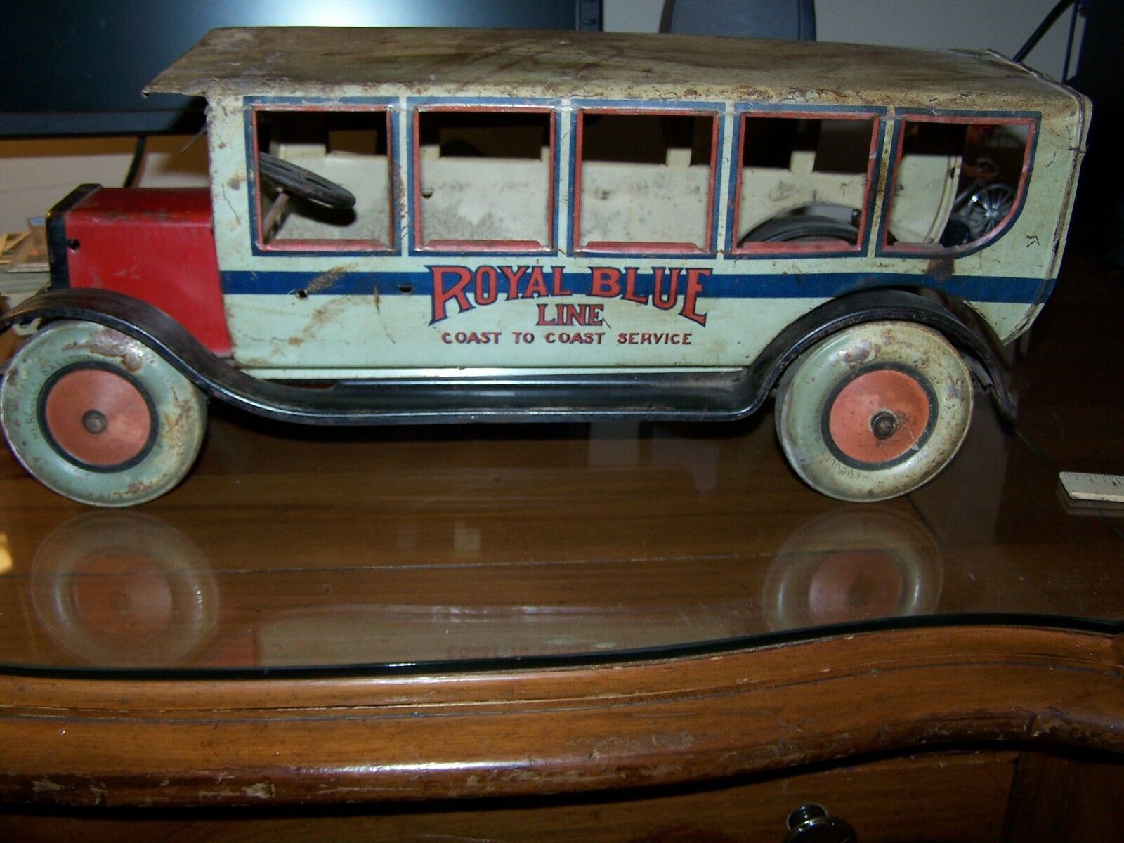1927 Chein  550 Royal blu Line Pullman Bus Tin RARE AS IS for Restoration