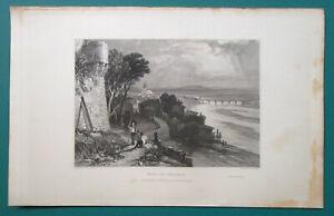 FRANCE-View-of-Pont-du-Chateau-1833-Antique-Print-Engraving