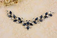 Vintage Wedding Rhinestone Applique Leaf Crystal Trim Diamante Applique Motif