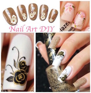 Nail-Art-Water-Decals-Transfer-Stickers-Fiori-Farfalle-Decorazione-Unghie