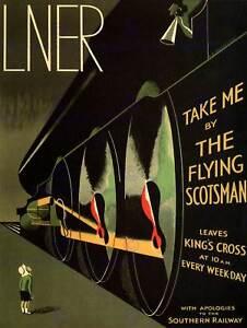 Viaje-LNER-Ferrocarril-Flying-Scotsman-Reino-Unido-Locomotora-Vintage-Anuncio-Cartel-2420PY