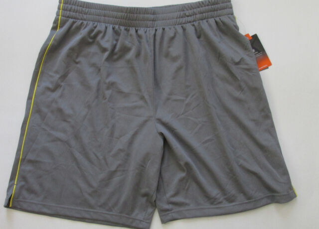 329a0ff9a2bf Tek Gear Basketball Gray Yellow Cord Strip Men s XXL Mesh Shorts New Tags  Lined