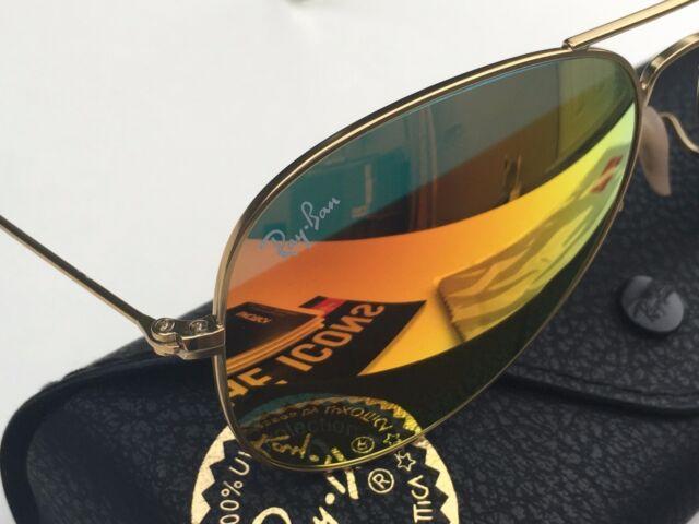 77e54b70712 Ray-Ban Polarized Aviator Orange Mirror Flash Lens Gold Frame RB3025 112 4D  58mm
