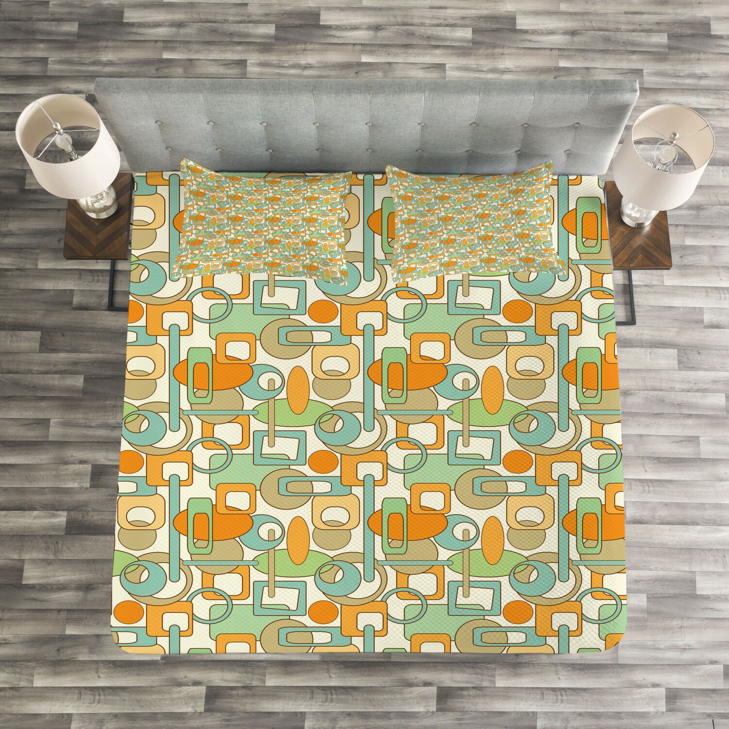 Geometric Quilted Bedspread & Pillow Shams Set, Abstract Shapes Mix Print