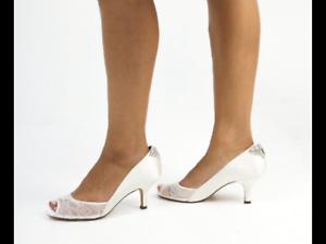 1a8658566256 Benjamin Adams Caity Ivory Silk and Mesh Lace Low Heel Peep Toes UK ...