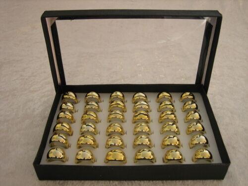 36 Acryl-Ringe im Display Restposten - goldfarben  Metallic