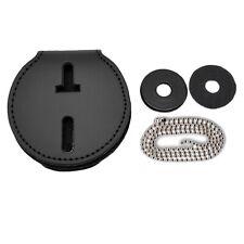 Universal Round Badge Holder Leather Clip On Belt Neck Hanger Chain Police Cwp