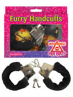 Metal Black Fluffy Furry Handcuffs Fancy Dress Sexy Role Play Night Hen Night