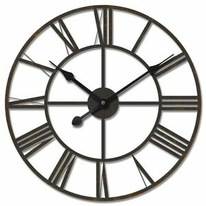Large 60cm Black Iron Metal Wall Clock Vintage French Provincial