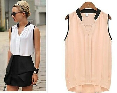 Fashion Women V neck Casual Sleeveless Shirt Chiffon Loose Vest Tank Tops Blouse