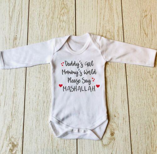 Daddy/'s Girl Mommy/'s World veuillez dire Mashallah à manches longues bébé gilet body