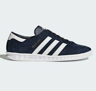 adidas Originals Hamburg Shoes Suede Trainers in Navy & White | eBay