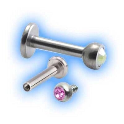 Titanium Jewelled Labret 1.2mm 16g Blue Grade 23 UK Choose Gem Size 6mm 18mm
