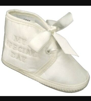 "BABY BOYS /""MY SPECIAL DAY/"" WHITE//IVORY CHRISTENING//BAPTISM SHOES"