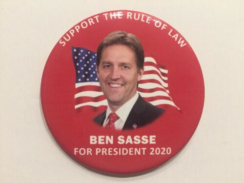 """2020 Senator Ben Sasse for President 3/"""" Button /""""Support the Rule of Law/"""" Red Pin"""