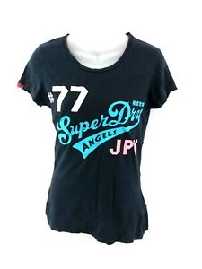 SUPERDRY-Da-Donna-T-Shirt-Top-S-SMALL-BLU-NAVY-COTONE