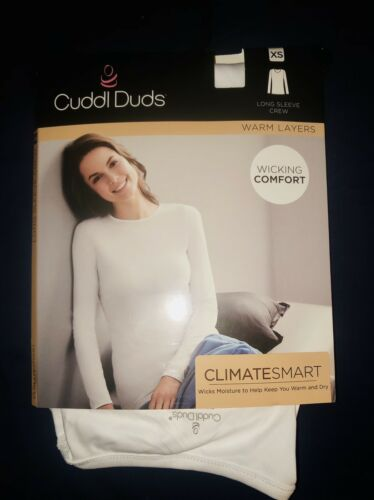 NWT Details about  /ClimateSmart Cuddl Duds ~ Wicking Comfort ~ Long Sleeve Crew ~SZ XS White