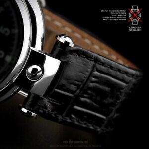 Uhrenarmband Schwarz Poljot Basilika 20mm Mit Ausschnitt Alligator Croco Prägung Modische Muster