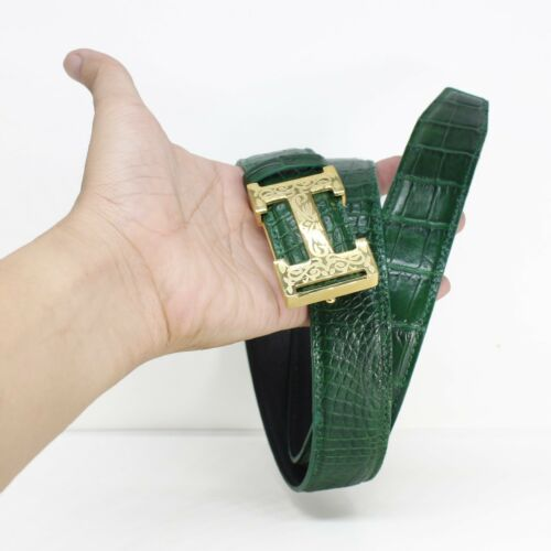 Men/'s Belt Genuine Crocodile Alligator Skin Leather Belt Handmade W3.5cm #JB1803