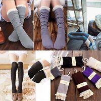 Girls Crochet Lace Cotton Knit Footed Leg Boot Cuffs Socks Knee High Stockings