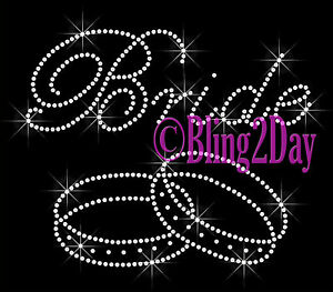 Rhinestone Iron on Transfer Hot Fix Bling Bridal Bride Series Large Mr
