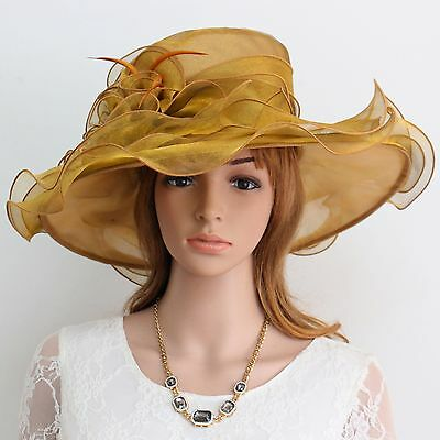 New Church Kentucky Derby Wedding Organza Wave Ascot Dress Hat 3190 Black