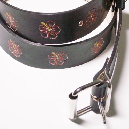 Ledergürtel in schwarz mit einpunzierten Hibiskusblüten 4cm Breite