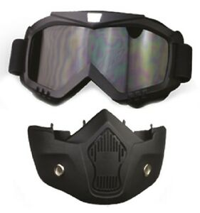 1 2 3 4 Open Face Motorcycle Helmet Mask Goggles Combo Cafe Racer Retro Ebay