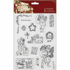DOCRAFTS PAPERMANIA VICTORIAN CHRISTMAS SANTA A5 CLEAR STAMP SET 15 STAMPS - NEW