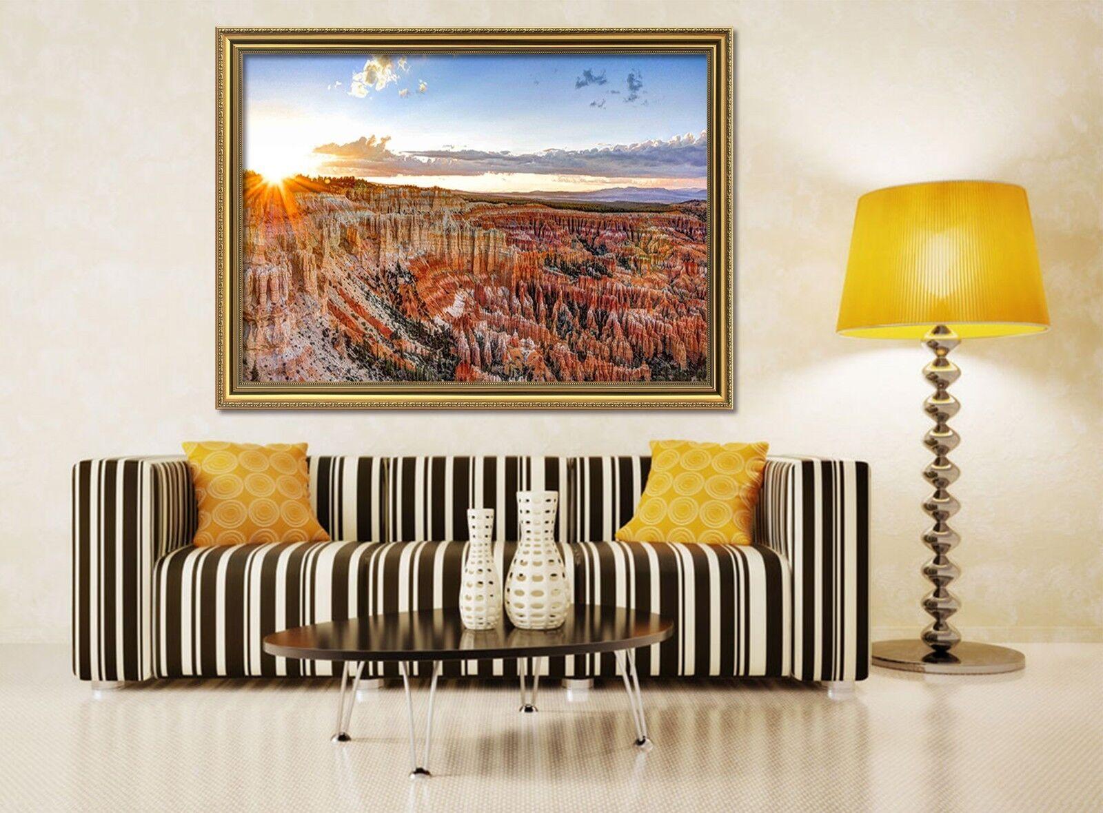 Bryce Canyon 2 Póster Enmarcado 3D Decoración del Hogar Pintura de Impresión Arte AJ Wallpaper