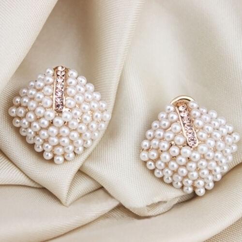 1 Paar Mode Ohrstecker Ohrringe Doppelperlen Doppel Perle Perlen-/&L G7N8