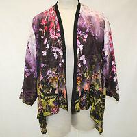 Citron Clothing Butterfly & Flowers 100% Silk Cascade Jacket Blouse 3x